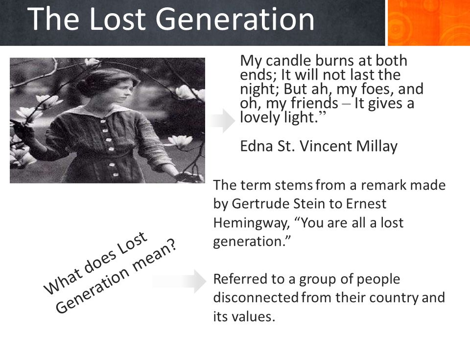 The Lost Generation What does Lost Generation mean