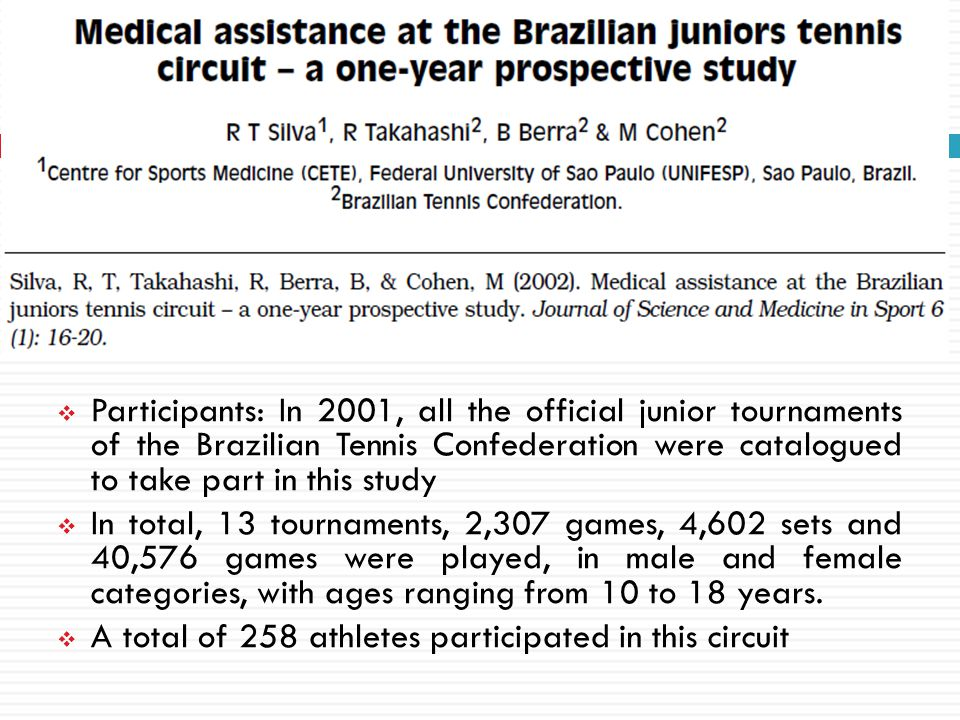 Participants: In 2001, all the official junior tournaments of the Brazilian Tennis Confederation were catalogued to take part in this study