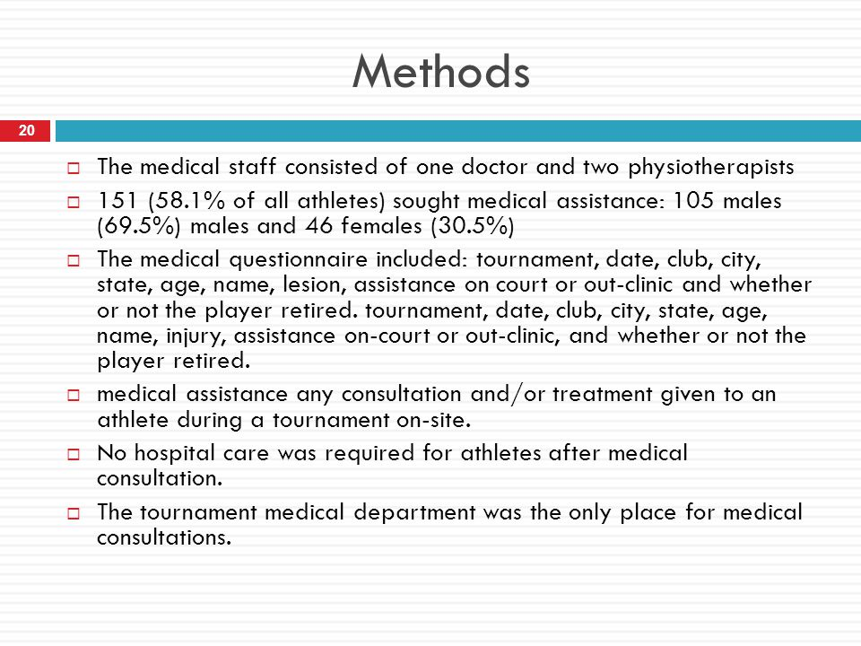Methods The medical staff consisted of one doctor and two physiotherapists.