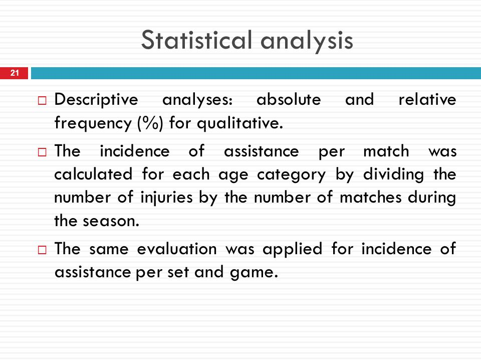 Statistical analysis Descriptive analyses: absolute and relative frequency (%) for qualitative.