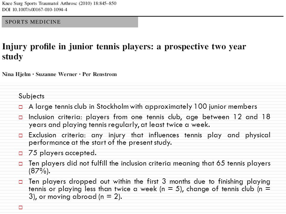 Subjects A large tennis club in Stockholm with approximately 100 junior members.
