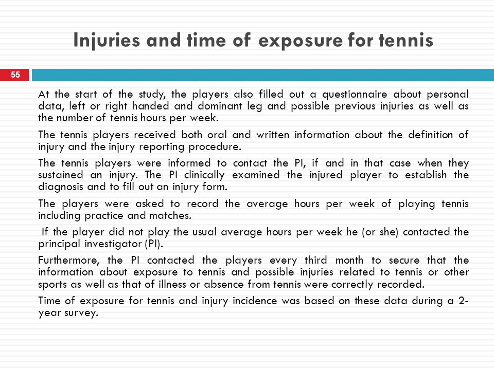 Injuries and time of exposure for tennis