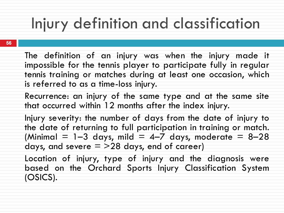 Injury definition and classification