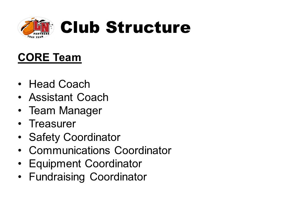 Club Structure CORE Team Head Coach Assistant Coach Team Manager