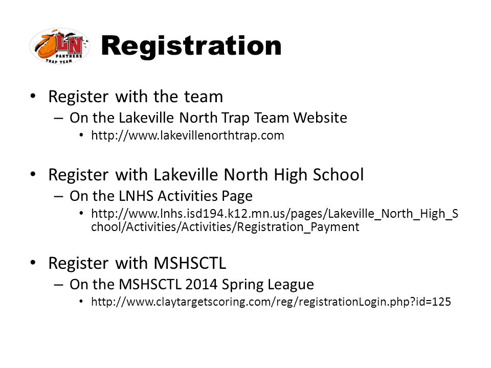 Registration Register with the team