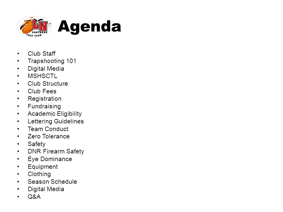 Agenda Club Staff Trapshooting 101 Digital Media MSHSCTL