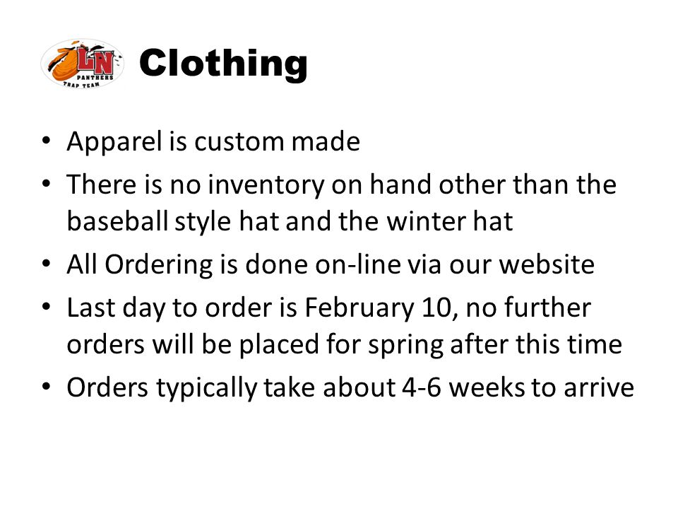 Clothing Apparel is custom made