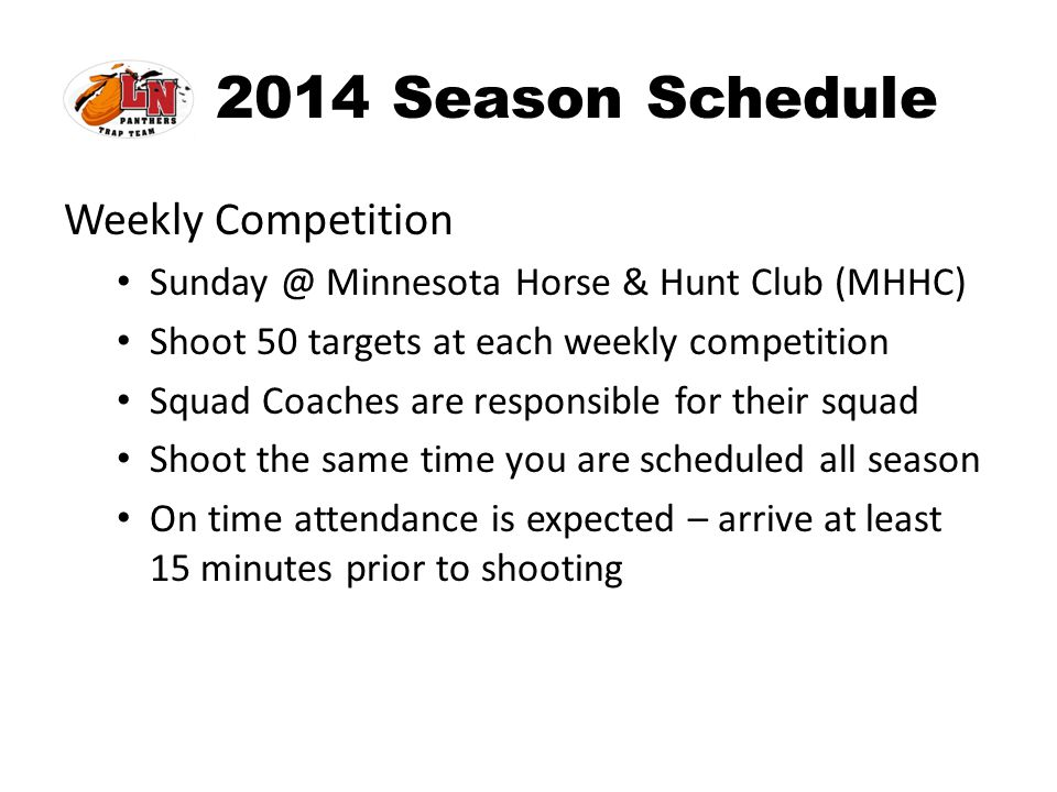 2014 Season Schedule Weekly Competition
