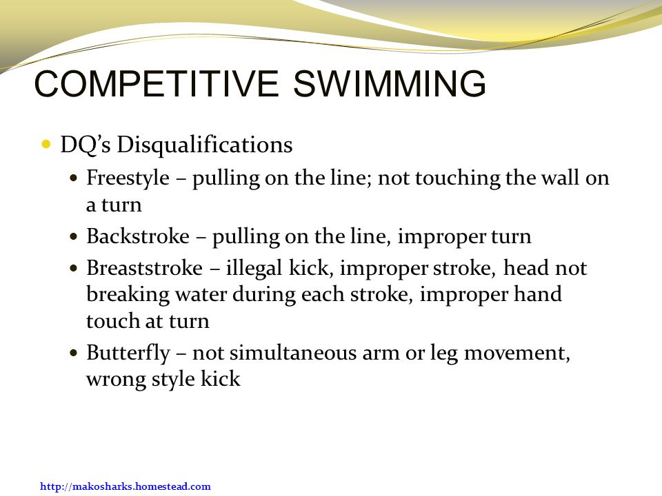 COMPETITIVE SWIMMING DQ's Disqualifications