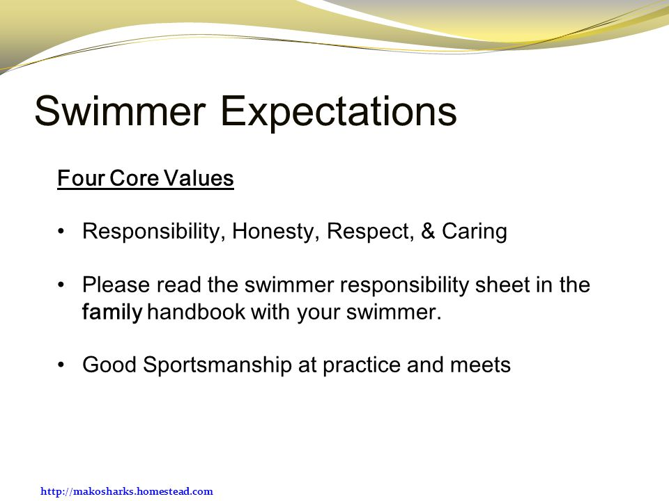 Swimmer Expectations Four Core Values