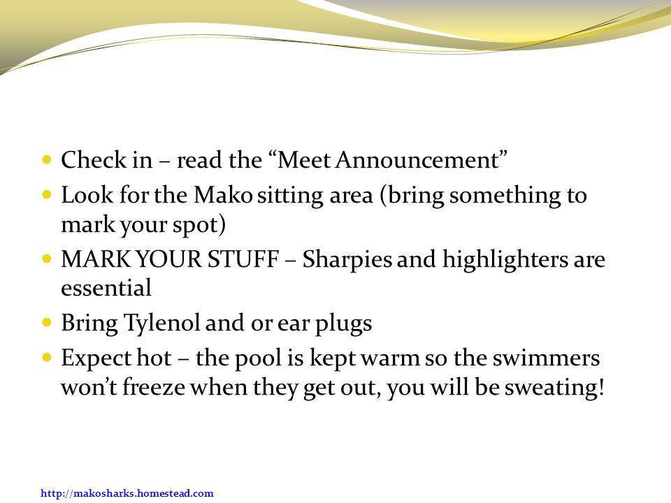Check in – read the Meet Announcement