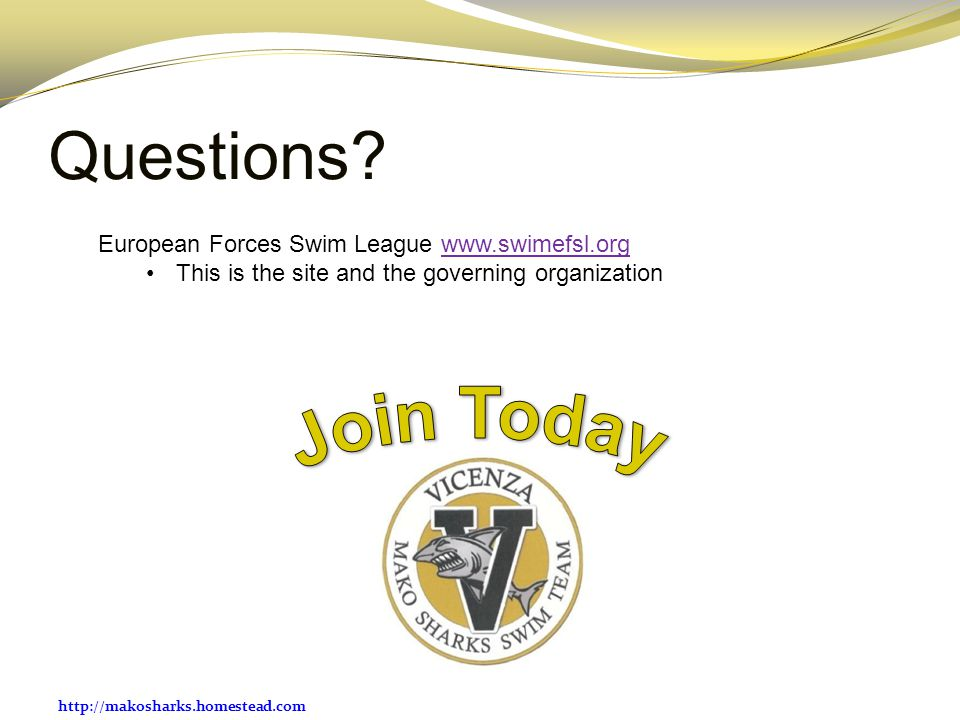 Join Today Questions European Forces Swim League