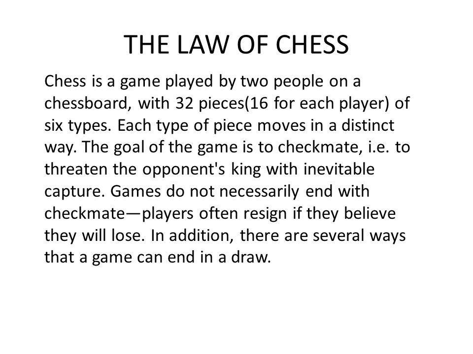 THE LAW OF CHESS