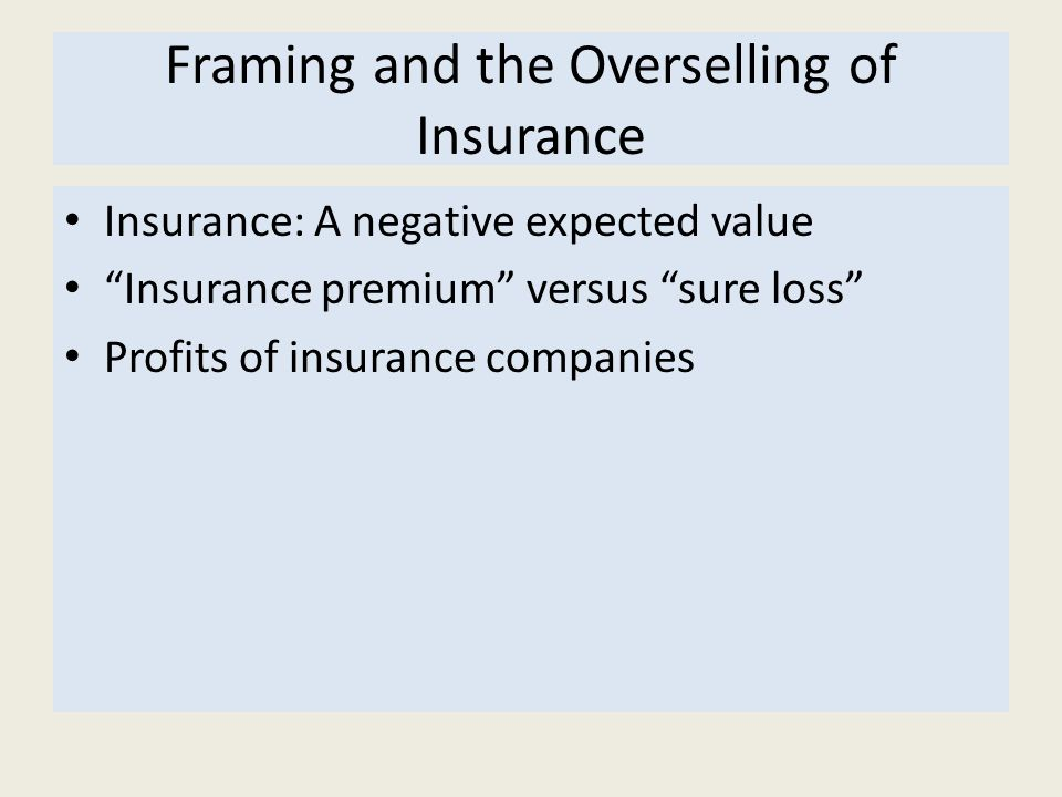 Framing and the Overselling of Insurance