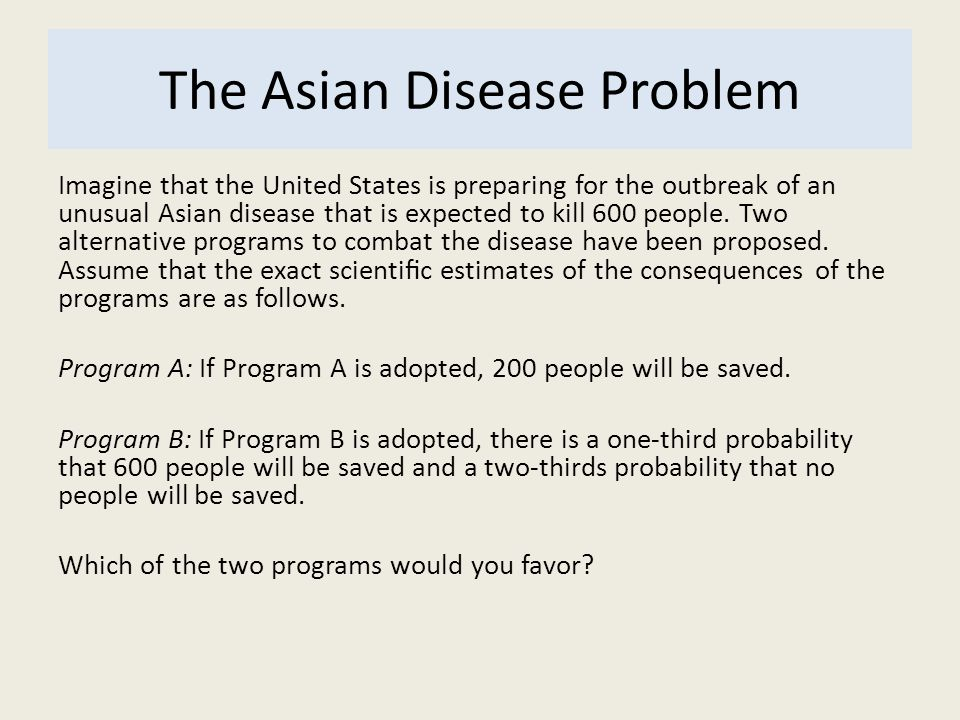 The Asian Disease Problem