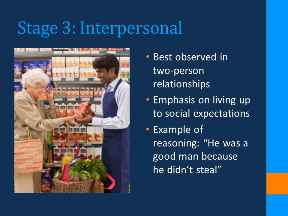 Stage 3: Interpersonal Best observed in two-person relationships