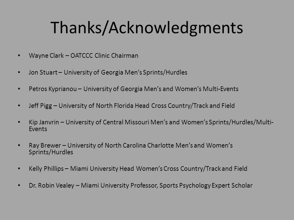 Thanks/Acknowledgments