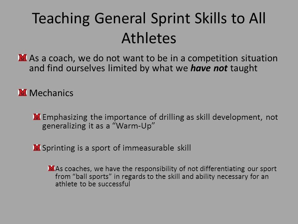 Teaching General Sprint Skills to All Athletes