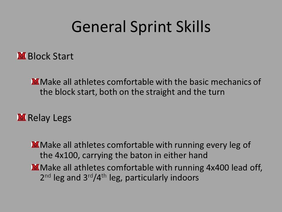 General Sprint Skills Block Start Relay Legs