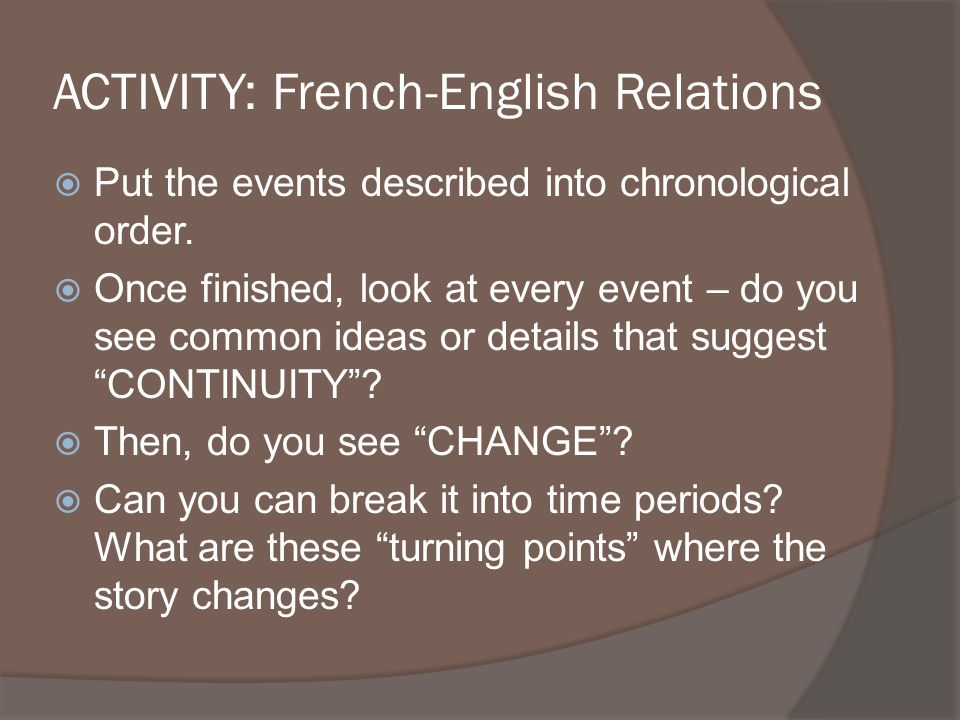 ACTIVITY: French-English Relations