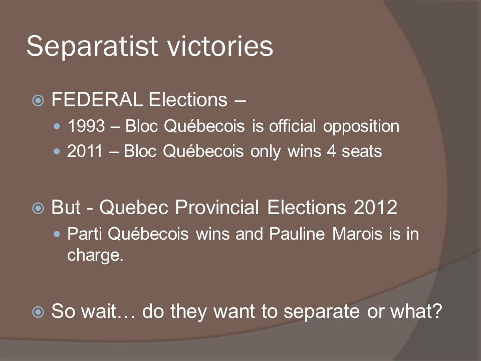 Separatist victories FEDERAL Elections –