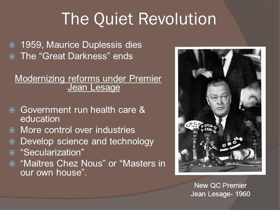 Modernizing reforms under Premier Jean Lesage