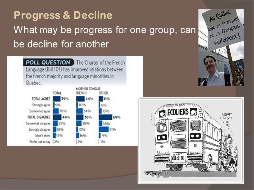 Progress & Decline What may be progress for one group, can