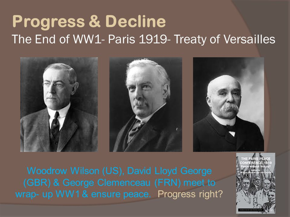 Progress & Decline The End of WW1- Paris Treaty of Versailles