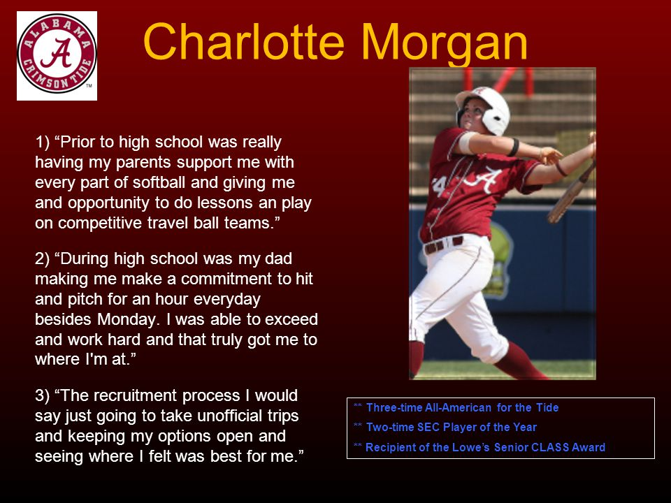 Charlotte Morgan 1) Prior to high school was really