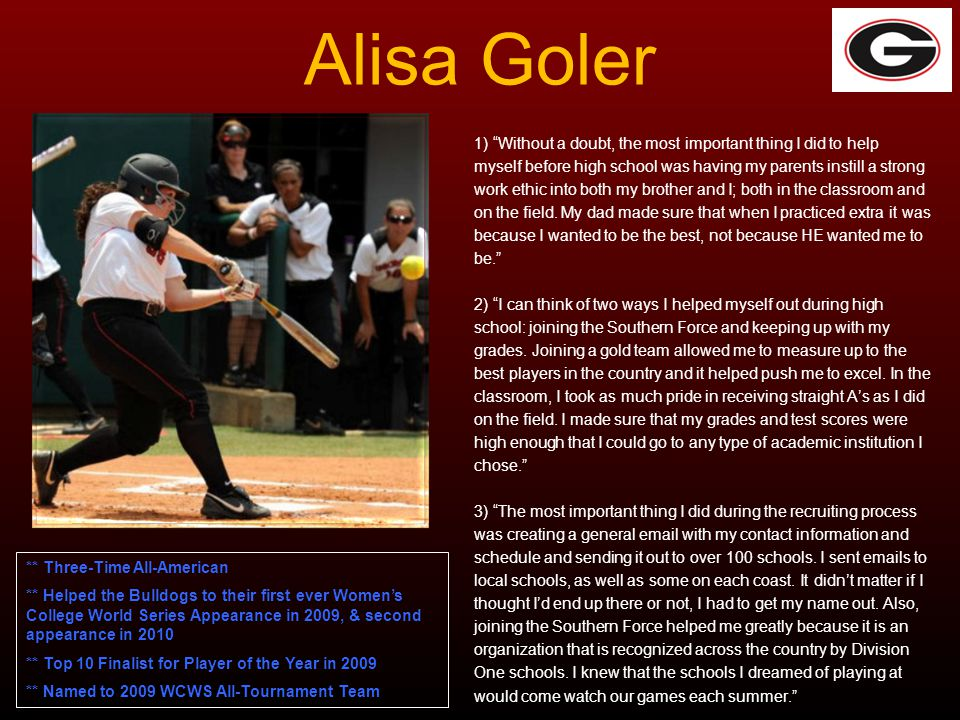 Alisa Goler 1) Without a doubt, the most important thing I did to help. myself before high school was having my parents instill a strong.
