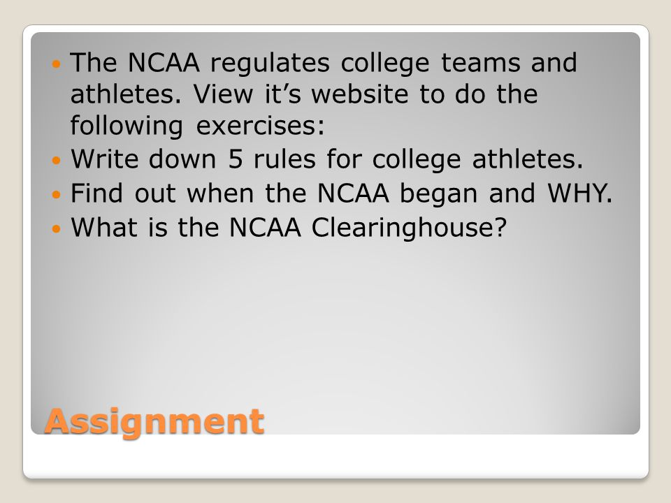 The NCAA regulates college teams and athletes