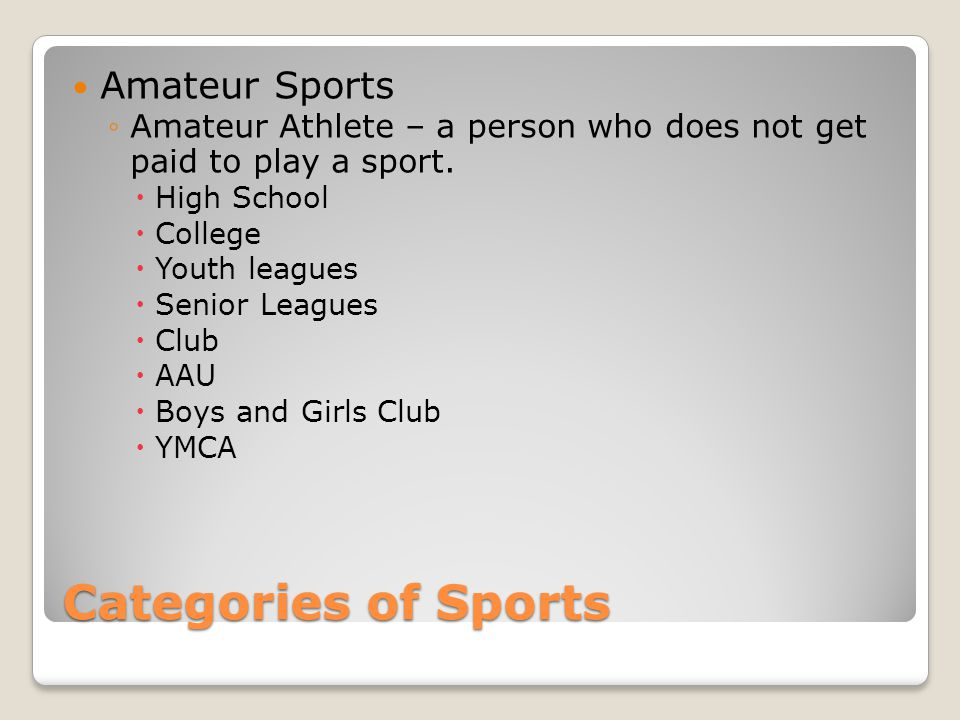 Categories of Sports Amateur Sports