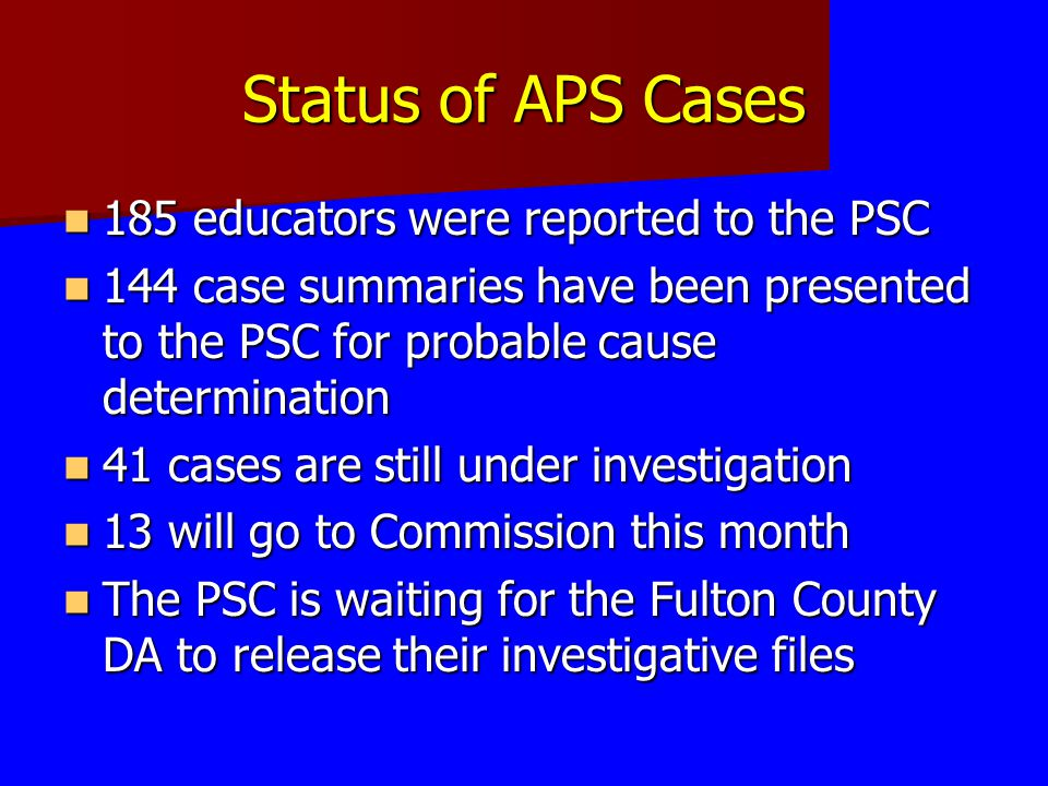 Status of APS Cases 185 educators were reported to the PSC