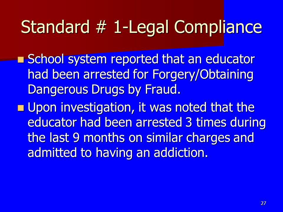 Standard # 1-Legal Compliance