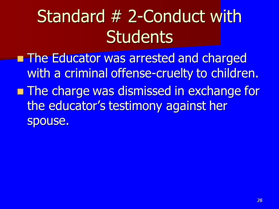 Standard # 2-Conduct with Students