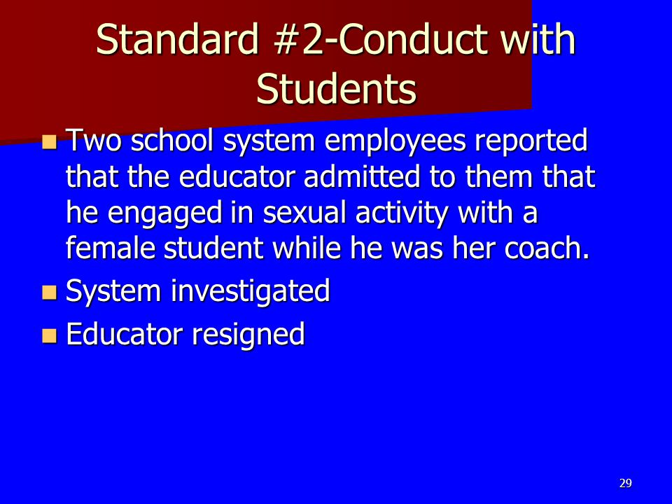 Standard #2-Conduct with Students