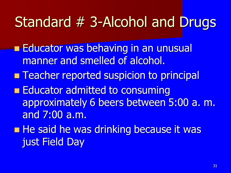 Standard # 3-Alcohol and Drugs
