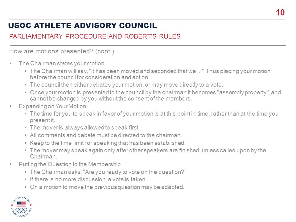 Parliamentary Procedure and Robert s Rules