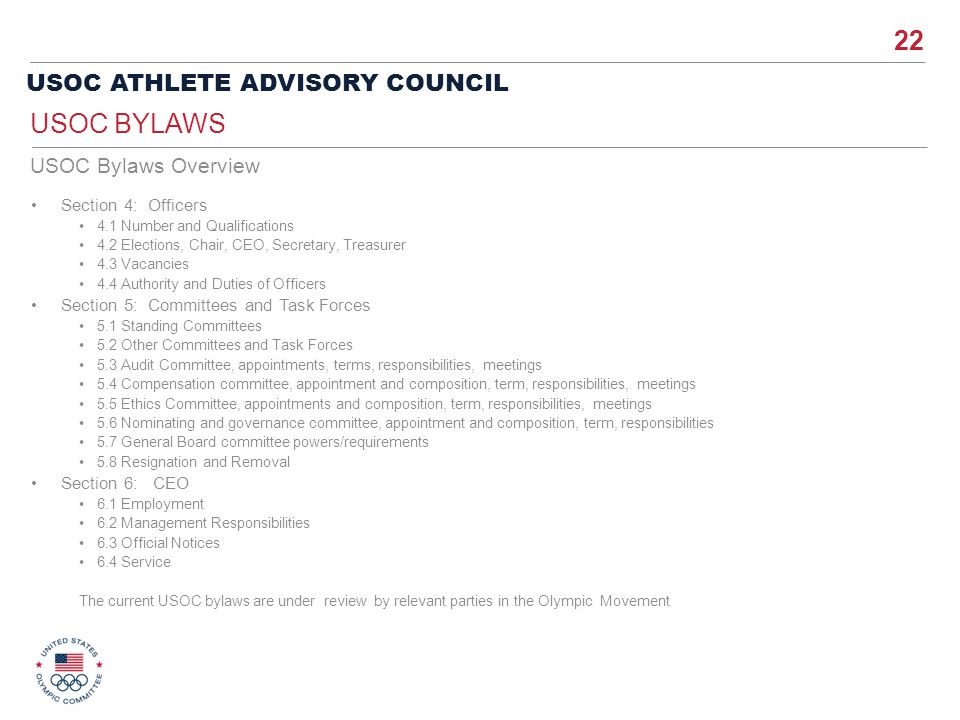 USOC Bylaws USOC Bylaws Overview Section 4: Officers