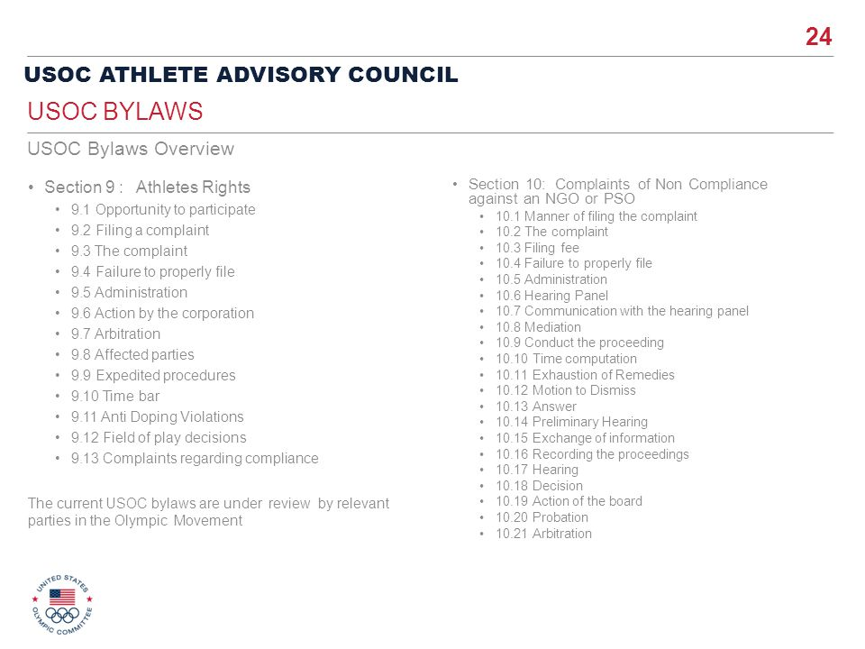 USOC Bylaws USOC Bylaws Overview Section 9 : Athletes Rights