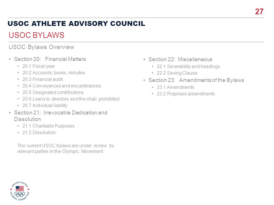 USOC Bylaws USOC Bylaws Overview Section 20: Financial Matters