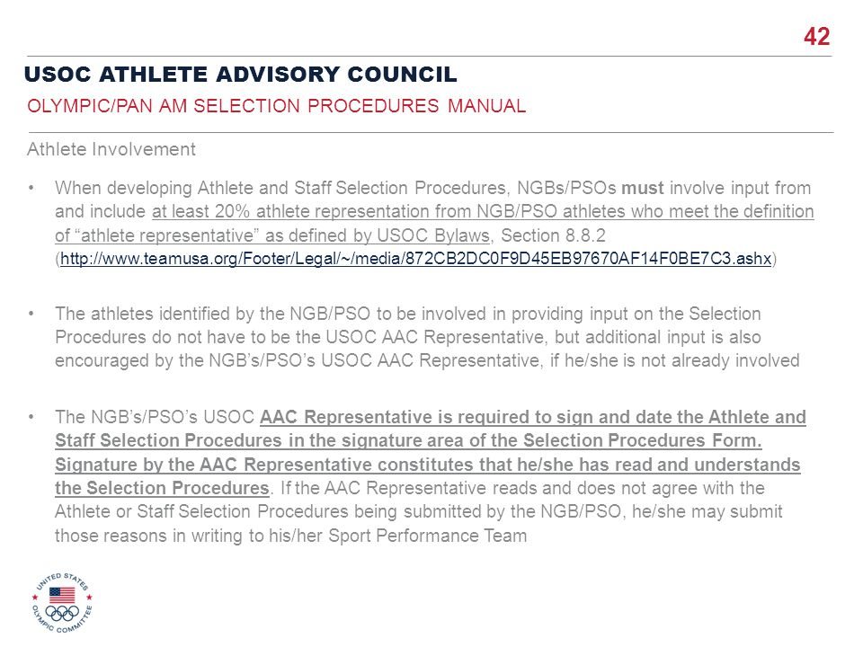 Olympic/Pan Am Selection Procedures ManuaL
