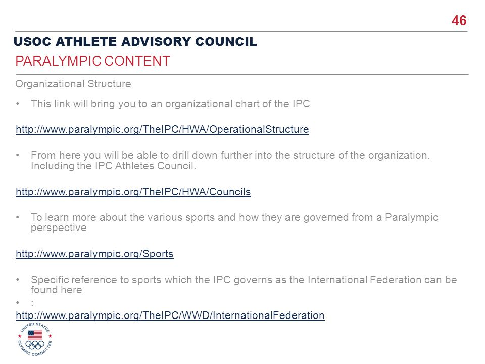 Paralympic Content Organizational Structure