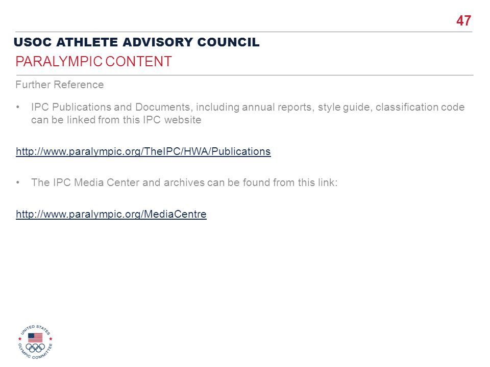 Paralympic Content Further Reference
