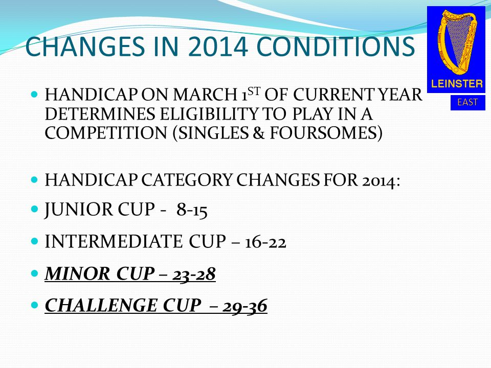 CHANGES IN 2014 CONDITIONS JUNIOR CUP - 8-15 INTERMEDIATE CUP – 16-22