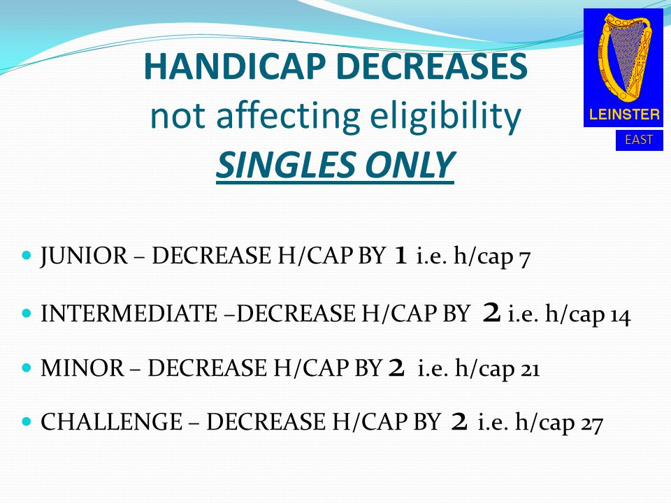 HANDICAP DECREASES not affecting eligibility SINGLES ONLY
