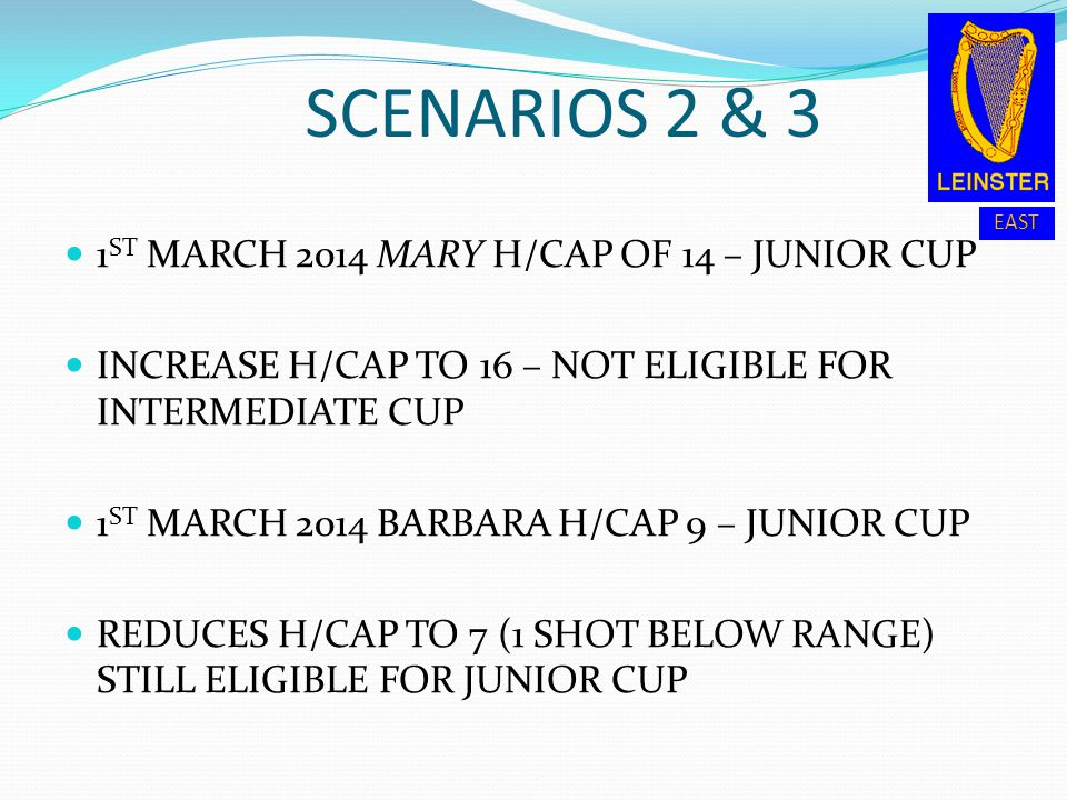 SCENARIOS 2 & 3 1ST MARCH 2014 MARY H/CAP OF 14 – JUNIOR CUP
