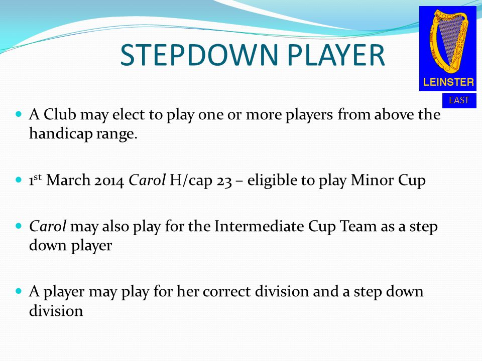STEPDOWN PLAYER A Club may elect to play one or more players from above the handicap range.
