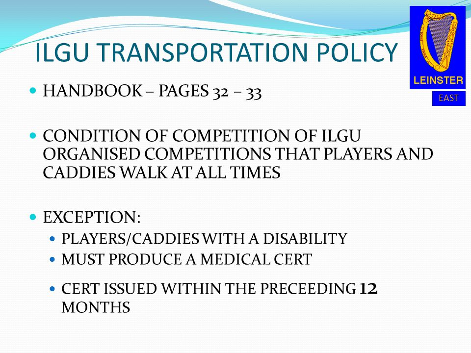 ILGU TRANSPORTATION POLICY