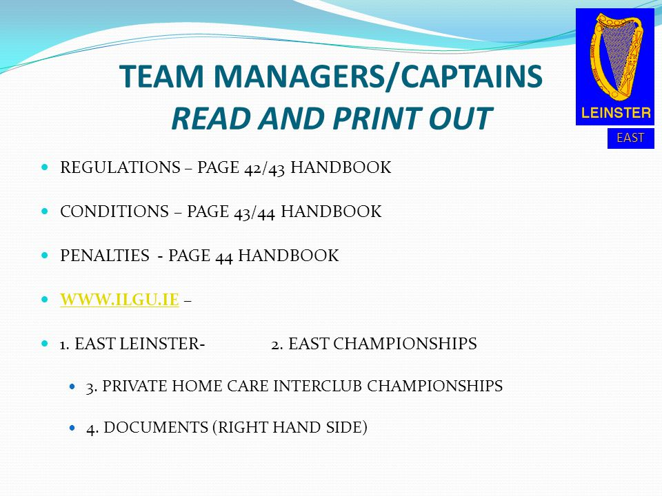 TEAM MANAGERS/CAPTAINS READ AND PRINT OUT